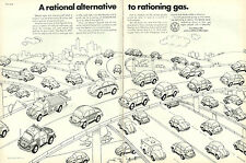 1970s Classic Car Ad, Volkswagen, cute cartoon VW Beatle auto Ad, 022114