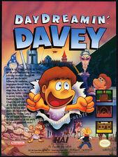 DAY DREAMIN' DAVEY__Original 1991 Print AD / game promo_NES_Nintendo_Hal America