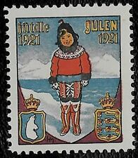 + 1921 Denmark Christmas Seal Label Child in Costume of Era Winter Scene MNH