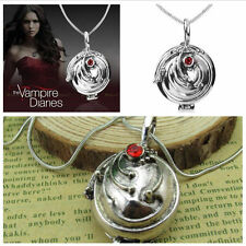 Vampire Diaries Elena Gilbert Vervain Pendant Charm Silver Red Crystal Necklace