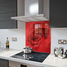 Red Rose Design Glass Splashback Made To Measure 60cm X 60cm
