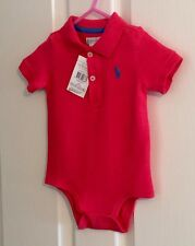 Ralph Lauren polo BabySuit Size 6M Red New With Tags