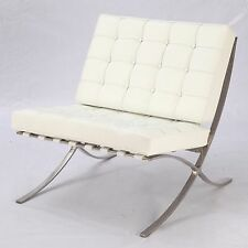 Replica Barcelona Chair - Platinum Edition (White Italian Leather All Over)