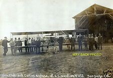 """EARLY IMAGE AVIATION FIELD IN SAN DIEGO - CURTISS AIRPLANE - 4"""" by 6"""" REPRINT"""