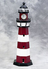 "Painted Red and White Wooden Lighthouse With 2"" Clock 7"" X 22"" ~ Nautical Decor"