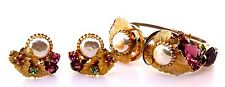 Juliana D&E Pearl Rhinestone Goldleaf Clamper Cuff Bracelet & Earrings Set