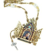 NEW SWEET ROMANCE GOLDTONE GATES OF HEAVEN WITH CROSS NECKLACE ~~MADE IN USA~~