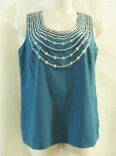 ERICA DAVIES Turquoise Sleeveless Tank Top with Silver Beadwork - Size 12 - NEW-