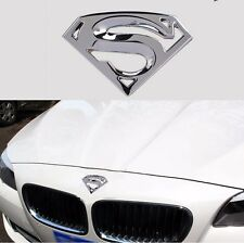 Superman 3D Chrome Metal Car Motorcycle Logo Sticker Emblem Badge Decal Silver
