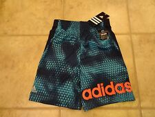 BOYS SIZE 7 ADIDAS CLIMALITE SHORTS **NWT** GREAT NAVY BLUE DESIGN!!!