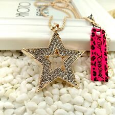 Betsey Johnson Five-pointed star Pendants chain Sweater chain necklace CC176