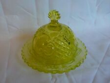 Rare Antique Yellow Vaseline Glass Covered Butter Dish Guernsey Glass? Excellent