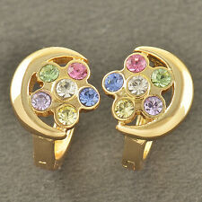 Classic 9K Solid Gold Filled CRYSTAL Flowers WOMENS Hoop Earrings,Z3459