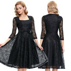 50s Lady 3/4 Sleeve Vintage Style Swing Full Circle Pinup Party Dress