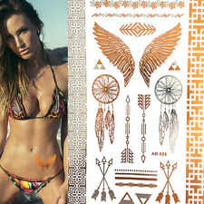 Wing Feathers Tattoo Sticker Metallic Flash Tattoos Temporary Tattoo Sticker JC1
