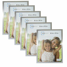 NEW MAINSTAYS Set 6 Size 8X10 ALUMINUM SILVER PICTURE PHOTO FRAME