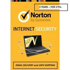 Norton Internet Security 3 YEARS - 3PC - Email Delivery and USPS Delivery