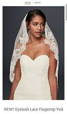 David's Bridal Eyelash Lace Fingertip Veil, V2010, Ivory ($189.95)