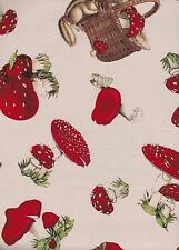 QUILT GATE USA RED TOADSTOOLS LADYBIRDS CHIPMUNKS FABRIC