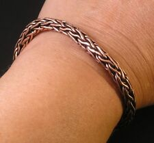 "Antiqued SOLID COPPER Round Woven Wheat CHAIN Bracelet 7 1/2"" Sm men S-M Women"