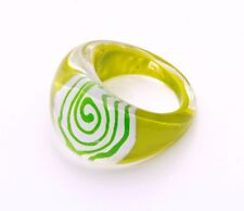 FAB LIME WHITE & GREEN SWIRL PLASTIC BUBBLE RING FOR A POP OF FUN COLOUR (ZX39)