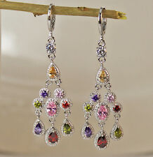 18K White Gold Filled- 2.4'' Waterdrop Pink Amethyst Cocktail Gems Hoop Earrings