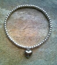 Simple Silver Ball Plated Beaded 3D Heart Charm Stretch Bracelet Bangle HANDMADE