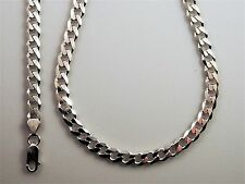 """Genuine Italian .925 Sterling Silver 30"""" Heavy 6 sided Curb Chain (7mm Wide)"""