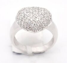 Vintage 14k White Gold SI1/H 1.62CT, Pave Diamonds Puff Heart Signet Ring,7