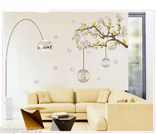 Bird Cage Tree Nursery Wall Stickers Removable Vinyl Decal Kids Baby Decor Art