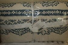New/perfect Pottery Barn Lori Paisley Wholecloth King quilt blue ivory