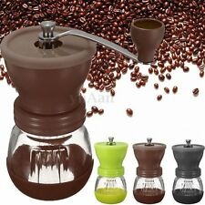 Manual Coffee Bean Nut Spice Hand Grinder Mill Ceramic Clear Grinding Tool Burr