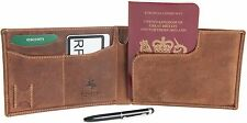 """Visconti Leather Oil Tan RFID Protection Passport Travel Wallet 726 - """"Jet """""""