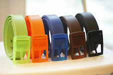 Unisex Lady Man Kids Children's Waistband Silicone Belt Boy Girl Plastic Buckle