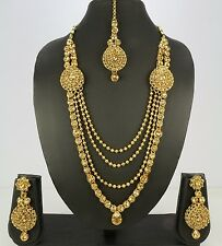 4-Line Wedding Bridal Indian Ethnic Handmade Necklace Set Earring Tikka Women