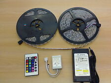 15M Waterproof 3528 RGB LED Strip Light 60LEDs/m Multi-Color+IR Remote+UK Power