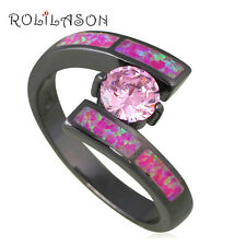 OR833#8 Brand Design Fashion CZ Ring Purple Fire Opal Black Gold Plated Jewelry