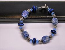 Real Azul Sodalita Gema Natural Piedra Señoras Brazalete en Negro Caja De Regalo