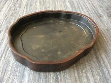 19th cent antique Chinese Huang huali tray and black lacquer interior