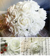 50 White Real touch Rose Wedding Bouquet/Centerpiece Silk Flower Decor Wholesale