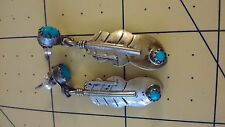 Vintage Unsigned Navajo Sterling TURQUOISE Pierced Feather Long Dangle EARRINGS