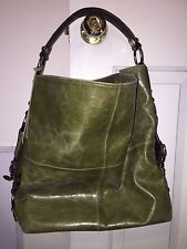 TANO Distressed Leather Green Hobo Handbag