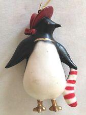 "Red Black White 3"" Penguin Bird w Stripe Sock Figurine Ornament"