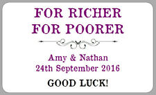 LOTTERY GIFT WEDDING FAVOUR LABELS STICKERS FOR RICHER FOR POORER PERSONALISED