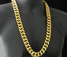 SOLID STAINLESS OVER 14 YELLOW G/P 20mm XXL MIAMI CUBAN CURB LINK NECKLACE CHAIN