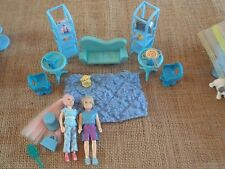 """Polly Pocket Lot """"Colors of the Rainbow"""" Blue Doll Furniture Clothes Dog X23"""