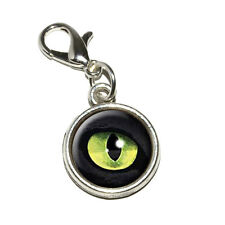 Cat Green Eye - Antiqued Bracelet Pendant Zipper Pull Charm with Lobster Clasp