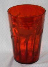 Vintage Orange Fine Glass Vase - Hand Blown - Etched  Leaf Pattern