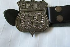 """LADIES """"RIPCURL GIRL"""",  BLACK LEATHER BELT WITH BRASS BUCKLE/S"""