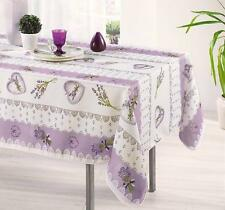 60X140 RECTANGLE BOUQUET LAVENDER LILAC FRENCH PROVENCE WHITE TABLECLOTH, NEW!